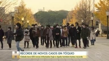 Tóquio registra recorde de ccasos de COVID em 24 horas - Foram 602 infectados na cidade hoje. O maior número desde o início da pandemia.
