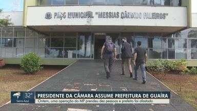 Presidente da Câmara assume Prefeitura de Guaíra após afastamento do prefeito e vice - José Renato dos Santos Júnior (DEM) tomou posse na quarta-feira (9). Ex-chefes do Executivo, Zé Eduardo (PSDB) e Renato Moreira (Cidadania) são alvos de investigações do Ministério Público por fraudes em licitações.