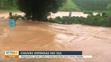 Chuvas fortes provocam alagamentos, queda de pontes e prejuízos em cidades do Sul do ES - Assista.