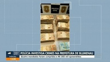 Polícia investiga crimes dentro do Samae, em Blumenau, e quatro mandados foram cumpridos - Polícia investiga crimes dentro do Samae, em Blumenau, e quatro mandados foram cumpridos