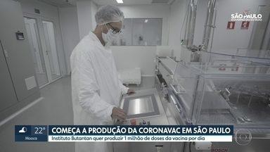 Vacina contra a covid-19 começou a ser produzida pelo Instituto Butantan em São Paulo - A vacina ainda não tem o registro da Anvisa e já está sendo negociada com governadores de outros estados
