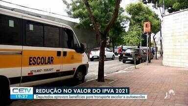 Deputados aprovam redução do Ipva 2021 para transporte escolar e autoescolas - Saiba mais no g1.com.br/ce
