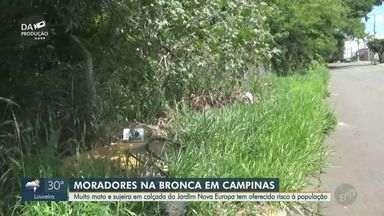 Moradores do Jardim Nova Europa, em Campinas, reclamam de mato alto e sujeira nas ruas - A falta de manutenção nas calçadas faz com que os residentes da região se arrisquem andando pela rua.