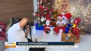 Fotógrafa faz ensaios natalinos com crianças - O espírito natalino motivou uma fotógrafa de Boa Vista a fazer ensaios com as crianças