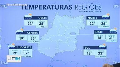 Confira a previsão do tempo para Goiás - Máxima no estado chega a 35ºC.