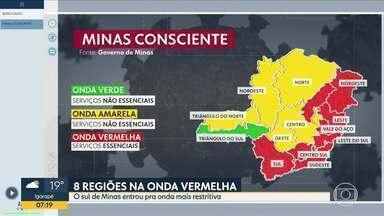 Oito das 14 regiões de Minas voltam para onda vermelha do programa 'Minas Consciente' - Programa estabelece regras para flexibilização de serviços durante pandemia da Covid-19.