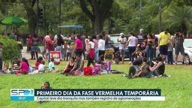 Fase vermelha temporária começa tranquila, mas Capital também registra aglomeração - Muita gente foi até o parque Ibirapuera, na zona sul da Capital. Como o parque estava fechado, as famílias se concentraram num canto do parque que é aberto. Muitos paulistanos também procuraram os serviços de entrega de restaurantes e lanchonetes.