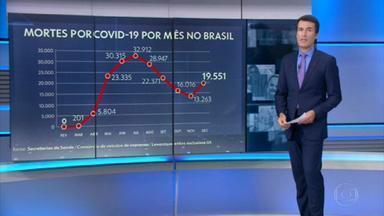 Dezembro já tem número de mortes por Covid maior do que nos últimos dois meses - Nas últimas 24 horas, o Brasil registrou 1.075 mortes. O mês ainda não terminou, mas dezembro já tem o maior número mensal de mortes por covid-19 desde setembro. Os números até esta terça (29) já somam 19.551 óbitos.