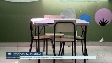 Escolas de Guarujá se preparam para retorno de aulas presenciais - Aulas presenciais retornam no município em fevereiro.