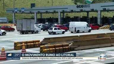 Movimento é intenso na descida para o litoral paulista - Quem desceu prometeu evitar aglomerações.