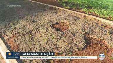 Calçadas do lago Veredinha precisam de manutenção - O artista plástico e pioneiro Galeno fez a arte da Calçada Veredinha, em Brazlândia, que se tornou patrimônio cultural de Brasília. Mas hoje o local está quebrado, sujo e sem manutenção.