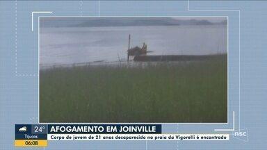 Corpo de jovem de 21 anos desaparecido na praia de Joinville é encontrado - Corpo de jovem de 21 anos desaparecido na praia de Joinville é encontrado