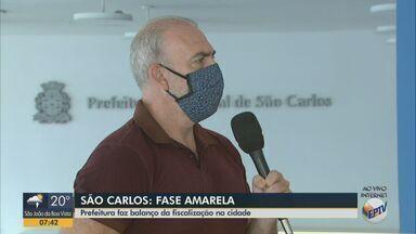 Fase amarela: Prefeitura de São Carlos faz balanço da fiscalização na cidade - Força-tarefa realiza operações para conter aglomerações em meio à pandemia do novo coronavírus.