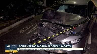 Batida entre dois veículos deixa um morto e cinco feridos na Zona Sul de SP - Acidente ocorreu na Avenida São Valério, no bairro do Morumbi, na noite de domingo (10). Um dos feridos ficou em estado grave e passou por cirurgia.