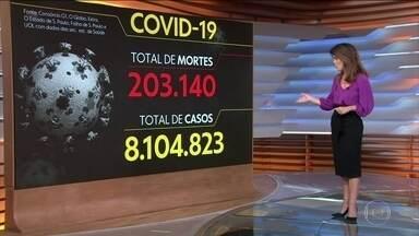 Brasil registra 203.140 mortes causadas pela Covid-19 - Veja os números atualizados da pandemia no Brasil, segundo o consórcio de veículos de imprensa.