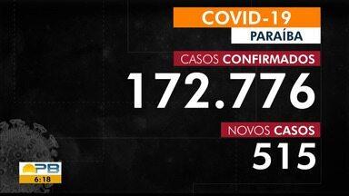 Paraíba tem 172.776 casos confirmados por coronavírus - Dados são das últimas 24h