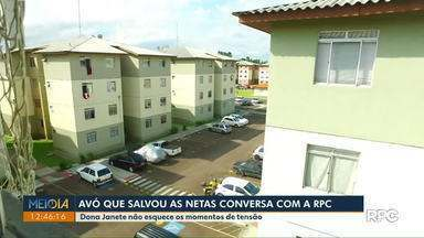 Avó que salvou netas de incêndio em São José dos Pinhais conversa com a RPC - Pra fugir do fogo ela jogou as três crianças da janela do 4º andar.