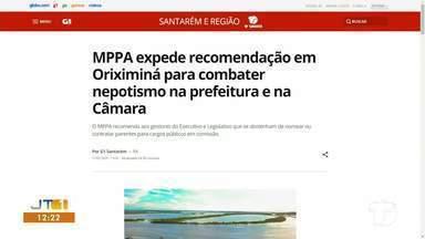 Combate ao nepotismo em Oriximiná é destaque no G1 Santarém e região - Confira a informação completa no maior portal de notícias da região.