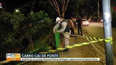 Carro cai em córrego em Montes Claros - Motorista sofreu escoriações.