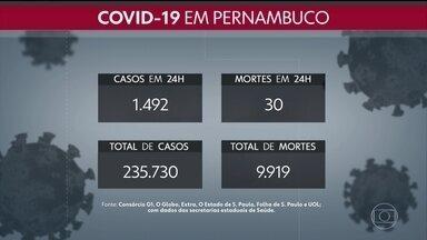 Pernambuco registra mais 30 mortes e 1.492 casos da Covid-19 - Estado passou a ter, ao todo, 9.919 óbitos e 235.730 confirmações da doença.