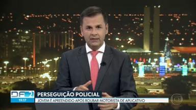 Dois homens e um adolescente roubam o carro de um motorista de aplicativo em Vicente Pires - A perseguição policial foi até a Colônia Agrícola Veredão em Taguatinga, onde eles abandonaram o carro.