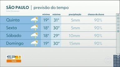 Tarde de quarta-feira ainda pode ter chuva forte na Grande São Paulo, só que mais isolada - Chuva diminui na quinta-feira e na sexta. Veja a previsão até o fim de semana.