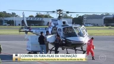 Defensoria Pública pede urgência na implementação do controle unficado da fila da vacina - DPU enviou recomendação ao Ministério da Saúde, preocupada com a judicialização dos casos de fura-filas