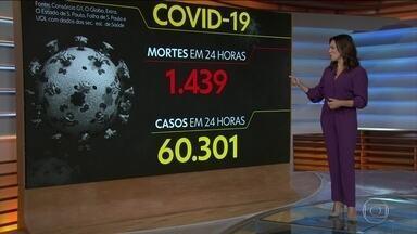 Brasil registra 1.439 mortes por Covid em um dia, e total chega a 221,6 mil - País contabilizou 9.060.786 casos e 221.676 óbitos por Covid-19 desde o início da pandemia, segundo balanço do consórcio de veículos de imprensa. Revisão de mortes de meses anteriores no PR elevou ainda mais o registro nacional.