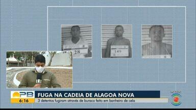 Três detentos fogem da Cadeia Pública de Alagoa Nova, Agreste da PB - Eles cavaram um buraco no banheiro da cela para fugir