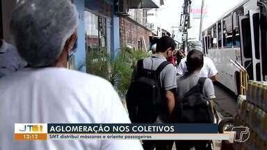 SMT distribui máscaras e orienta passageiros em Santarém - Confira como foi a ação realizada nesta sexta-feira (29).
