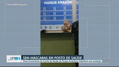 Funcionárias de posto de saúde são flagradas sem máscaras, em Goiânia - Um telespectador fez o registro no posto de saúde do Parque Amazônia.