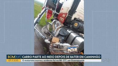 Carro parte ao meio depois de bater em caminhão na BR-277 - Motorista do carro morreu. O acidente foi ontem (29) à tarde, em Guarapuava.