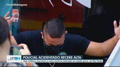 PM ferido em acidente com caminhão recebe alta do hospital, em Rio Verde - Dois outros policiais morreram na batida. Um militar segue internado.