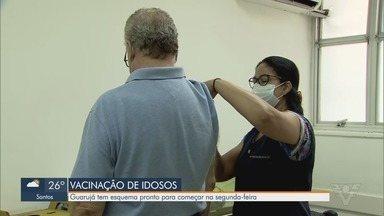 Idosos com mais de 90 anos começarão a ser vacinados na região - Vacinação começa na segunda-feira (8). Guarujá tem esquema pronto para começar a imunizar os idosos.