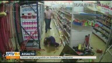 Dono de supermercado fica ferido após reagir a assalto em Pitangueiras, SP - Homem foi agredido pelos bandidos.