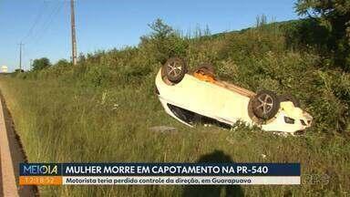 Mulher morre em capotamento na PR-540 - Motorista teria perdido controle da direção, em Guarapuava.