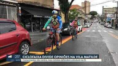 Ciclofaixa divide opiniões na Vila Matilde - A ciclofaixa é na Avenida Melchert, que dá acesso a Radial Leste e fica perto da Avenida Aricanduva. O problema é que a instalação está parada e há protestos contra e a favor da ciclofaixa.