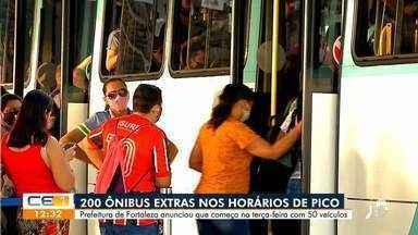Prefeitura promete ônibus extras nos horários de pico - Saiba mais em: g1.com.br/ce