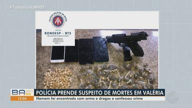 Polícia prende suspeitos de envolvimento em mortes no bairro de Valéria, em Salvador - Homem que foi encontrado com armas e drogas, neste sábado (6), confessou o crime.