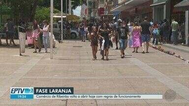 Shoppings de Ribeirão Preto, SP, reabrem com cidade na fase laranja - Estabelecimentos estão com novas regras de funcionamento.