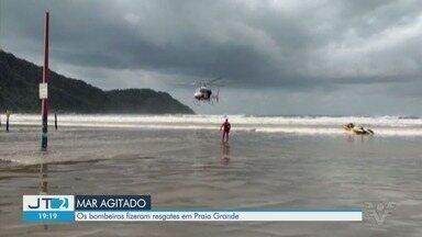 Praia Grande registra alto número de afogamentos após mar ficar agitado - Bombeiros fizeram diversos resgates na cidade neste sábado.