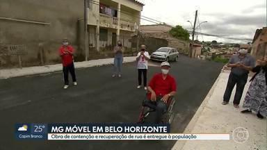 Moradores do bairro dom Bosco, em BH, comemoram entrega de obras com o MG Móvel - A sexta vez que o MG Móvel esteve na rua Ipatinga do Oeste foi para comemorar.