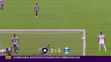 Já rebaixado, Botafogo é goleado pelo Grêmio em casa - Já rebaixado, Botafogo é goleado pelo Grêmio em casa