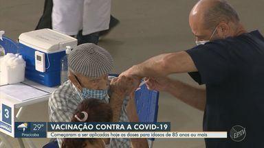 Idosos entre 85 e 89 anos começam a ser vacinados nesta quinta-feira (11) em Campinas - Já foram realizados ao menos 2 mil agendamentos para esta etapa de vacinação.