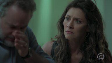 Joyce se desespera com a notícia da gravidez de Irene e pede que Eugênio se afaste - Irene provoca Caio e afirma a Mira que exigirá a pensão de Eugênio