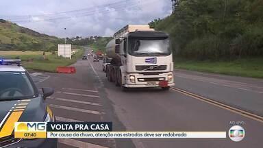 Mesmo sem carnaval, PRF registra movimento de volta para casa, na BR-381 - Por causa da chuva, atenção nas estradas deve ser redobrada.