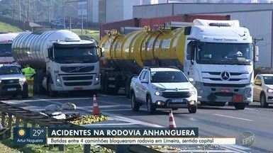 Caminhões se envolvem em dois acidentes e Rodovia Anhanguera tem interdições - O primeiro acidente aconteceu entre um caminhão-tanque e outro carregado com laranjas às 5h desta sexta-feira(19). Um dos motoristas ficou em estado grave. No mesmo trecho, outros dois caminhões colidiram.