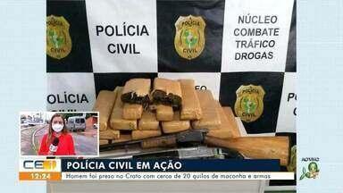 Homem é preso com drogas no Crato; ex-vereador é preso por ameaçar irmã em Crateús - Saiba mais em g1.com.br/ce