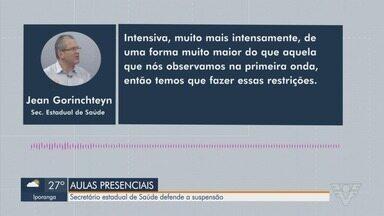 Secretário estadual de Saúde defende suspensão de aulas presenciais em escolas - Em entrevista à rádio CBN, Jean Gorinchteyn defendeu a suspensão do ensino presencial.