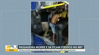 Polícia tenta identificar motorista de carro que invadiu pista do BRT e provocou acidente - Acidente aconteceu na Avenida das Américas, na altura de Guaratiba. Motorista de carro que invadiu corredor exclusivo fugiu do local.